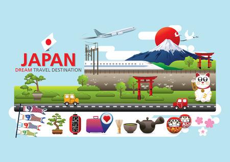 Illustration pour Japan Icons Design Travel Destination Concept, Travel design templates collection, Info graphic elements for traveling to Japan, Vector - image libre de droit