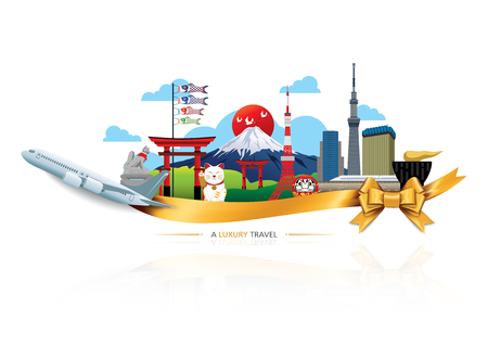 A Luxury Japan travel, Vector travel destinations icon set, Ribbon, airplane, gold ribbon, graphic elements for traveling to Japan