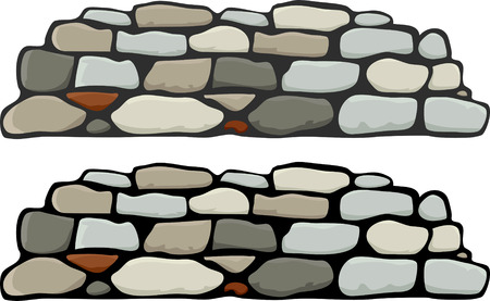A stone wall with black and grey mortar variations