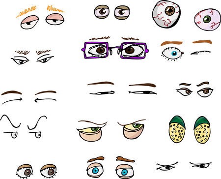 Set of 15 various forward-angle human and fantasy eyes for all uses.