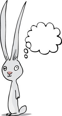 Lazy-eyed rabbit standing with a thought cloud.