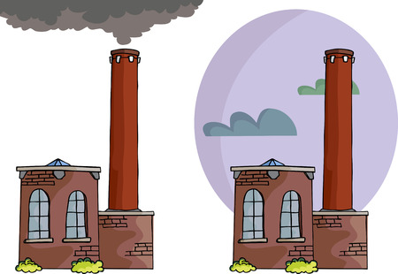 Cartoon of a small power plant or factory with smoke, tall smokestack and sky background variation.