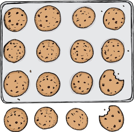 Tray of 12 chocolate chip cookies on metal tray with 4 off the tray