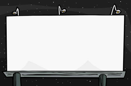 Blank billboard with lamps at night time