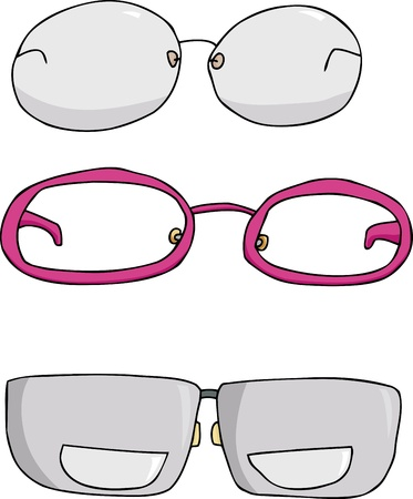 Three types of eyeglasses cartoons over white background