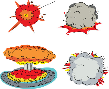 Set of four cartoon explosions over white background