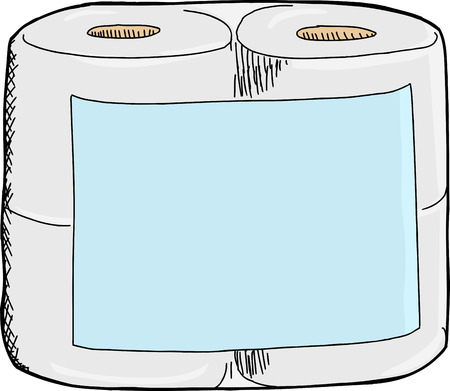 Generic toilet paper package with blank label on white background