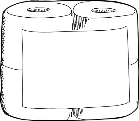 White toilet paper package with blank label on isolated background