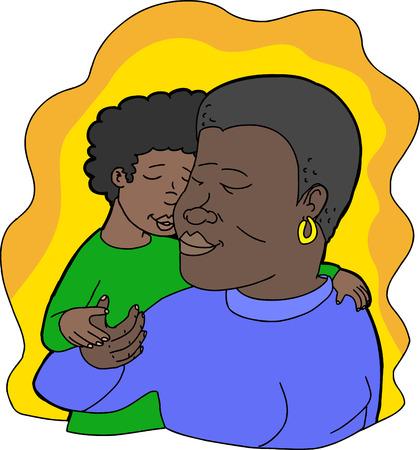 Illustration for Illustration of loving child kissing smiling mother - Royalty Free Image