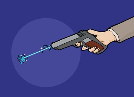 Cartoon of water shooting from a squirt gun