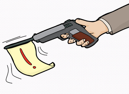 Cartoon of pistol firing flag with exclamation mark