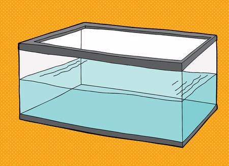 Half full rectangular pet fish tank on orange background