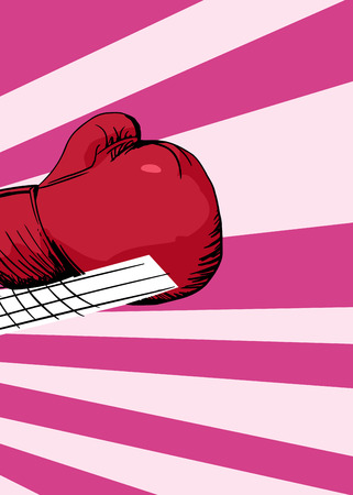 Close up of cartoon boxing glove in motion over pink background