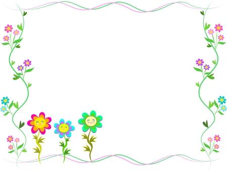 Frame of Trio Happy Flowers