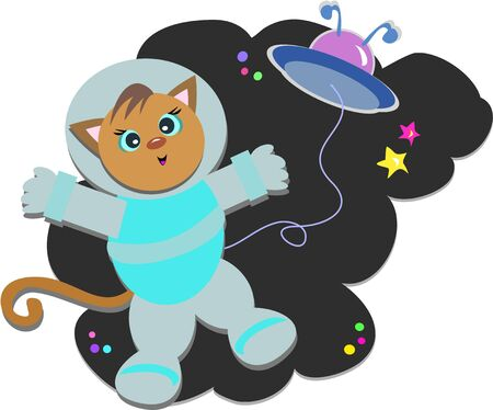 Cat Astronaut with Flying Saucer
