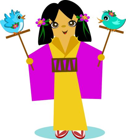 Japanese Girl with Bird Sticks
