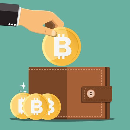 Illustration for Business hands putting bitcoin into wallet - Vector illustration. - Royalty Free Image