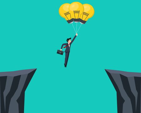 Illustration pour Businessman flying with light bulb and cross the mountain.Vector illustration. - image libre de droit