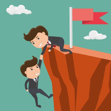 Illustration pour Businessman helping his friend pull up on the cliff. Vector illustration.  - image libre de droit