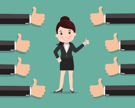 Illustration pour Business woman and many hands with thumbs up , Likes and positive feedback concept - vector illustration - image libre de droit