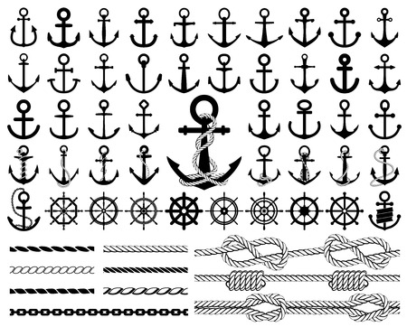 Set of anchors, rudders icons, and ropes.