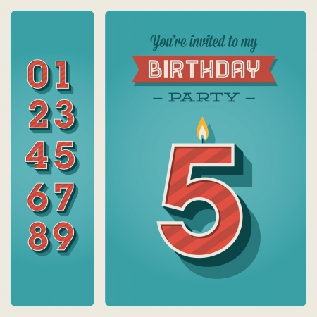 Template birthday card invitation with candle number editable