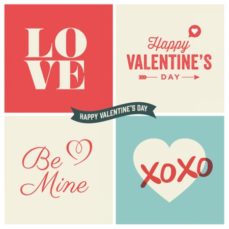 Valentine s day illustrations and typography elements