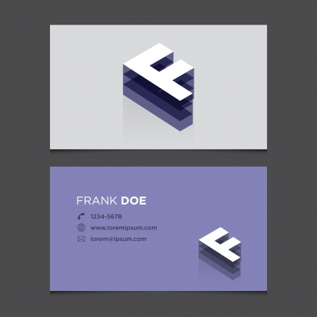 Business card with alphabet letter F  Vector template editable  Vintage design