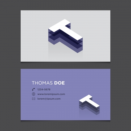 Business card with alphabet letter T  Vector template editable  Vintage design