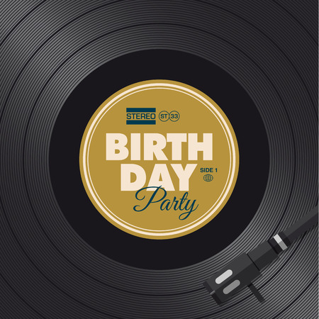 Birthday party invitation card  Vinyl illustration background, vector design editable