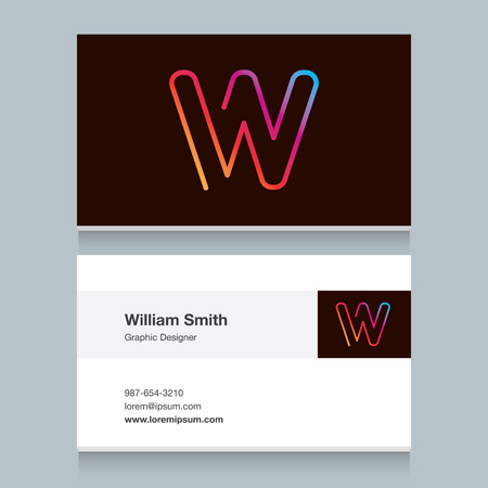 Logo alphabet letter W with business card template. Vector graphic design elements for your company logo.
