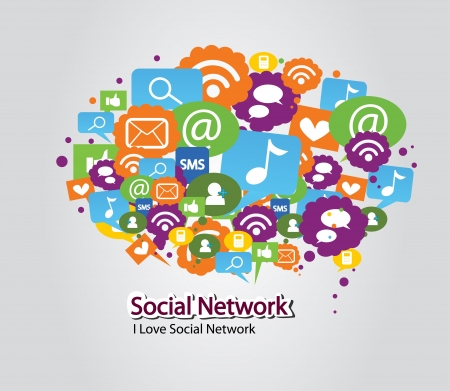 Illustration for social network bulb - Royalty Free Image