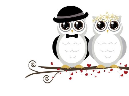 Foto de adorable couple wedding cute owls vector - Imagen libre de derechos