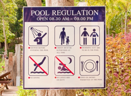 Pool regulation plate  Be installed in the garden near the entrance to the pool