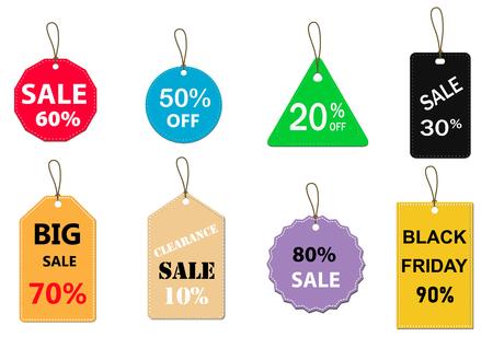 Illustration pour set of sale tag on white background. special offer discount tag sign. flat style. sale labels set icon for your web site design, logo, app, UI. sale tags symbol. - image libre de droit