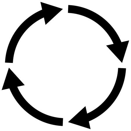 Illustration pour process symbol on white background. four step cycle arrow sign. flat style. cycle icon for your web site design, logo, app, UI. arrow cycle symbol.   - image libre de droit