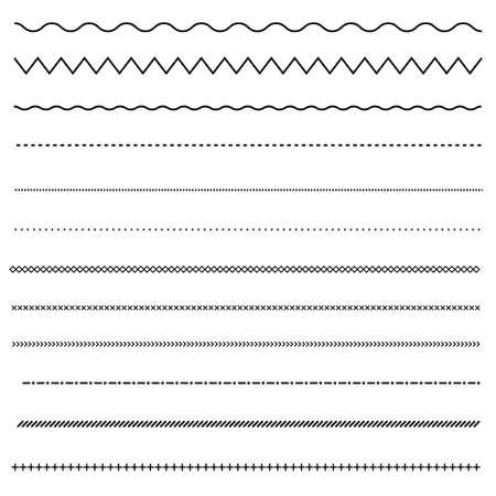 Illustration pour set of line on white background. dot and line patterns. line border symbol. - image libre de droit