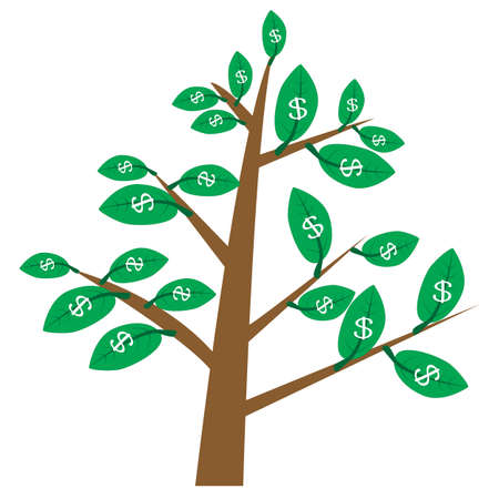 Illustration for money tree on white background. money tree with leaves in dollars. money tree sign. flat style. dollar tree symbol. - Royalty Free Image