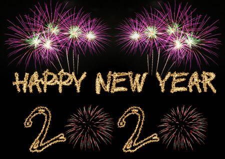 Photo pour Happy New Year 2020 sparklers firework - image libre de droit