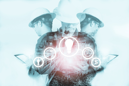 Foto de Double exposure of Engineer or Technician man with industry tool icons for management business by using tablet with safty helmet & uniform for oil and gas industrial business concept. - Imagen libre de derechos