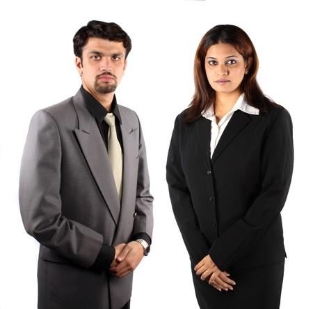 Photo pour A smart Indian businessman and businesswoman, isolated on white studio background. - image libre de droit