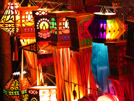 Traditional Indian lanterns for sale on the occassion of Diwali festival in India