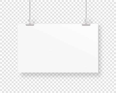 Illustration pour Empty paper frame mockup hanging with paper clip. Blank poster template. Mockup vector isolated. Template design. Realistic vector illustration. - image libre de droit
