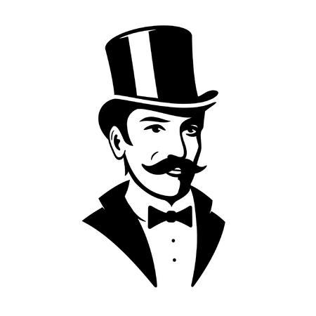 Ilustración de Victorian Gentleman Top Hat Logo Icon - Imagen libre de derechos
