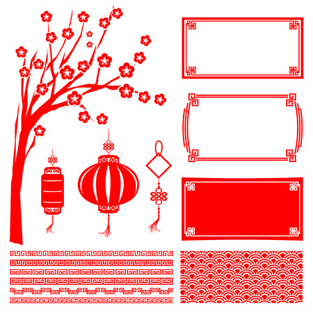Illustration pour Chinese happy new year red boarder frame tree flower lantern and decoration design element vector illustration - image libre de droit
