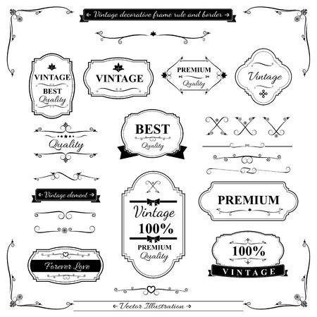 Ilustración de Collection of vintage frame border rule and design element - Imagen libre de derechos