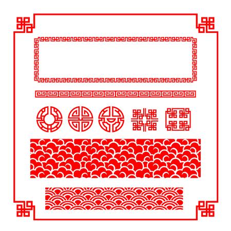 Ilustración de Chinese happy new year red border for decoration design element illustration - Imagen libre de derechos