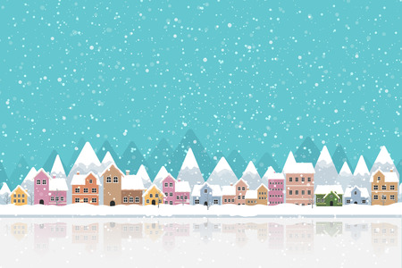 Illustration pour The town in the snow falling place flat color and simply design vector illustration - image libre de droit
