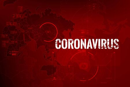 Photo for Coronavirus text outbreak with the world map and HUD circle element cyber futuristic concept, Abstract background virus hazard vector illustration - Royalty Free Image