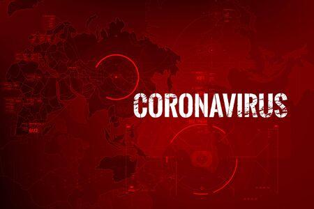 Foto de Coronavirus text outbreak with the world map and HUD circle element cyber futuristic concept, Abstract background virus hazard vector illustration - Imagen libre de derechos